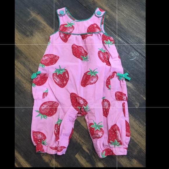 eea9ee0f4f Baby Boden strawberry romper sz 12-18M GUC. M 5ab04d188290af4427f50587